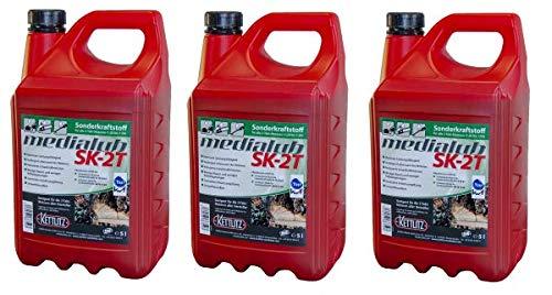 KETTLITZ 3 x 5 Liter Medialub SK-2T Alkylatbenzin für 2 Takt, Zweitaktmotoren, KWF Geprüft