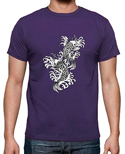 Tostadora - t-shirt koi tradizionale carpa tattoo - uomo viola xxl