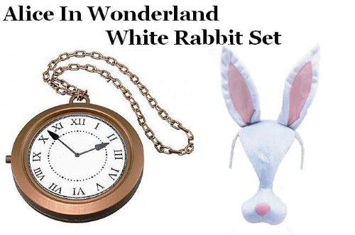 Alice im Wunderland weiß Kaninchen Maske und große Wanduhr