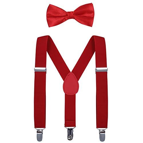 AWAYTR Kinder Hosenträger Krawatte Set -Einstellbar Länge 2.54cm Straps Mit Bogen Krawatte Set Für Jungen und Mädchen (Rot) (Rote Hosenträger Baby)