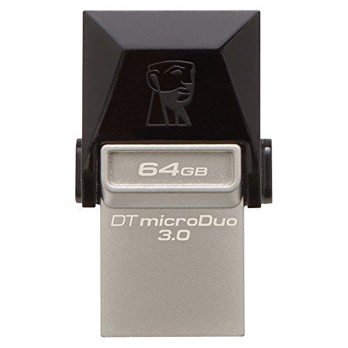 Kingston DTDUO3/64GB Chiavetta USB 64 GB, USB 3.0, Velocità Lettura 70 MB/s, Velocità Scrittura 15 MB/s, Nero