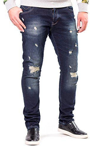 Premium Herren Jeans von Modern Munkies – inklusive Garantie – hochwertige Hose im Destroyed look – optimale Slim Fit Passform durch hohen...