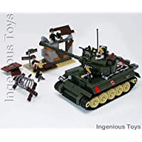 Ingenious Toys Military battle tank with 4 mini figures & hideout building construction set A711