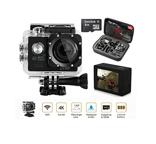 Lintern Pro Action Camera Bundle - Go Pro with This Stunning 4K HD WiFi Sports Camera - Memory Card - Carry Case Package - Get Started Immediately.