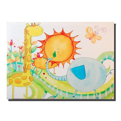 Childrens Nursery Bedroom Canvas Wall Art, Animal Jungle Friends Picture on Wooden Frame 40 x 30 - low-cost UK light shop.