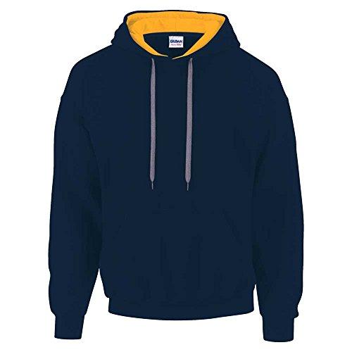 Gildan Herren Kapuzenpullover Contrast Hooded Sweatshirt Mehrfarbig - Navy/Gold