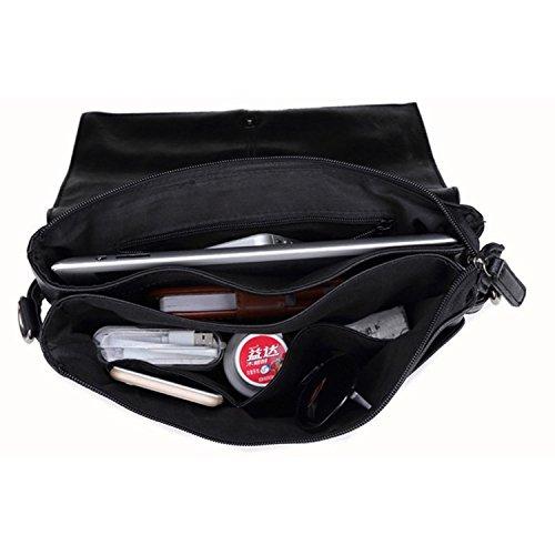 Outreo Borsello Cuoio Borsa Tracolla Uomo Borse in Pelle Borse a Spalla Sacchetto Sport Borsa da Viaggio Vintage Messenger Bag Nero