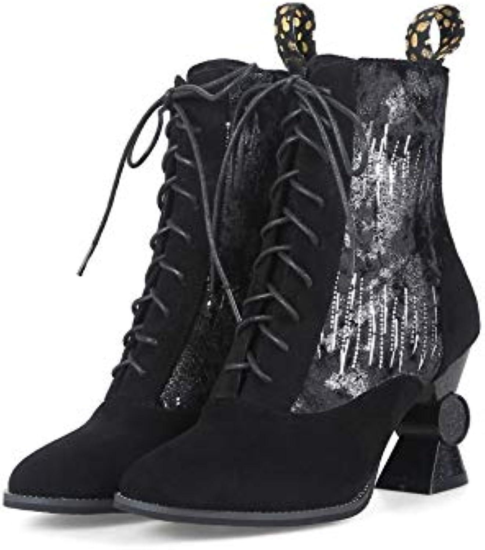d7f8ba92b77c Women s Pointed Toe Block Heel Heels Martin Short Ankle Boots Boots Boots  B07GXGVNHB Parent 09b7f3