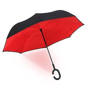 Parapluie Inversé Innovant Manuel Asika Parasol Robuste Résistant à la Chaleur avec les Toiles Double Couches avec Poignée C,idéal pour Libérer les Mains (Marguerite Rouge)