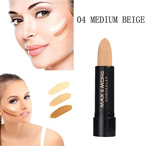 Amuster Bâton de base anticernes crémeux Highlight Contouring outil cosmétique de maquillage pour le visage Concealer Beauté Hydratant Outils de maquillage (Noir 4)