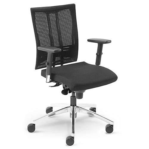 Bürostuhl Schreibtischstuhl NET Motion mit Multifunktions-Armlehnen und Rollen für Teppichböden, schwarz - Sieger Stiftung Warentest 2017