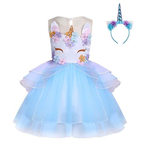 FONLAM Vestido de Fiesta Princesa Niña Bebé Disfraz de Unicornio Ceremonia Cumpleaños Vestido Infantil Flores Carnaval Niña Cosplay (Azul, 9-10 Años)