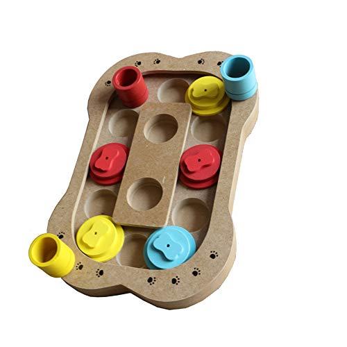 NaiCasy Haustier-Trainings-Spielzeug einziehbares Hundelernspielzeug Holzspiel Spielzeug Kreative Knochen drucken geformten hölzernen Feeder-Flitter 1pc - Kreative Kostüm Leicht