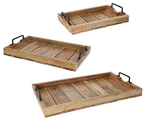 (Meinposten Tablett Dekotablett Holz Mango Braun Holztablett Deko Kerzentablett Dekoration (57 x 39 cm))