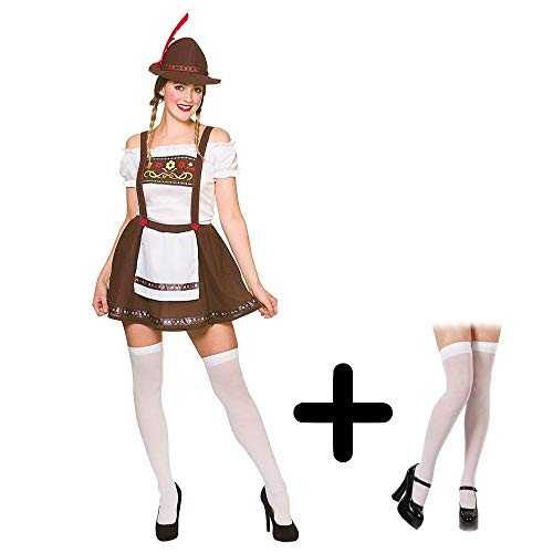 Adult Ladies Bavarian Oktoberfest Beer Maid COSTUME + HAT + STOCKINGS Fancy Dress Size: S (UK: 10-12) (Top 10 Fancy Dress Kostüm)