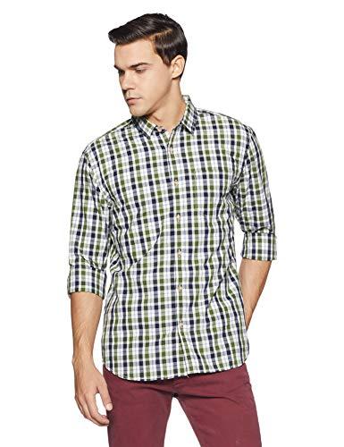 Amazon Brand- Symbol Men's Checkered Regular Fit Casual Shirt (SS18-SMCS-100_Green_X-Large)
