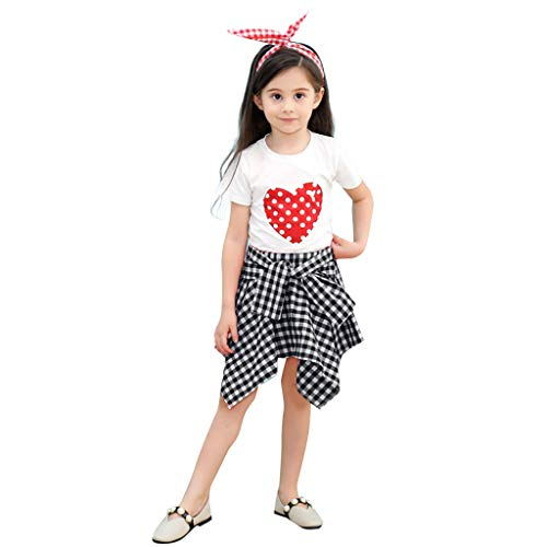 Lookhy Kleinkind Baby Mädchen Kurzarm Love Dot Print T-Shirt Tops + Plaid Röcke Outfits Kleinkind Kinder Baby Mädchen Karikatur Hase Tops Drucken Strampler Jumpsuit Overall+Hosen Sets -