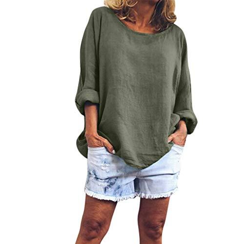Lazzboy Frauen Arbeiten V-Ansatz Lose Normallack-Druck-Lange Hülsen-Oberseite Um Damen Tunika Tops T-Shirt Große Größen Bluse Oberteile(Grün,2XL) Chic Saree