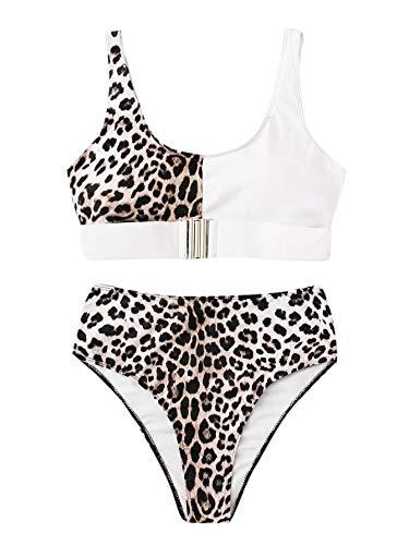 SOLY HUX Mujer Traje de Baño Leopardo de Dos Pieza Push Up Bañadores Bañador Tankini Ropa de Baño 2019
