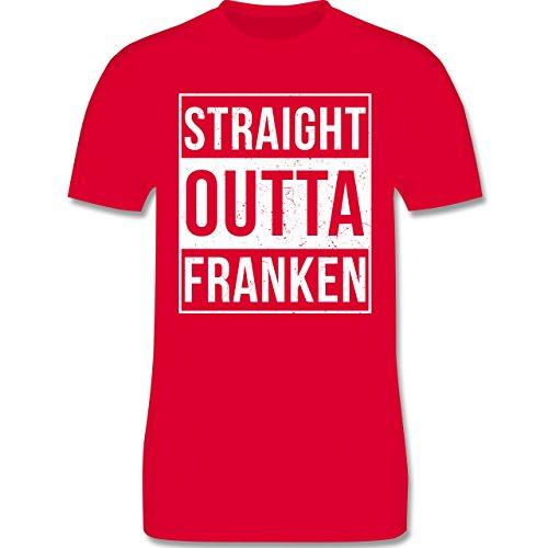 Franken Männer - Straight Outta Franken Weiss - L190 Schlichtes Männer Shirt Rot