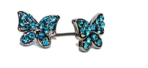 Jewels Fashion Boucles d'oreille à tige avec papillon orné de strass en acier chirurgical hypoallergénique plaqué rhodium White & Aqua