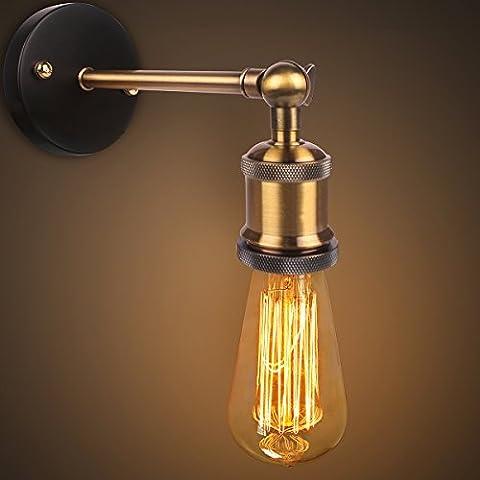 Copper Head Lamp Applique, Edison Retro Vintage Lumière, Laiton moderne Industrial Wall Sconce, Retro Wall Light Brass Adjustable Fini Head cuivre avec E27 Prise pour House, Bar, Restaurants, Café, Club de décoration (110-230V, ampoules non
