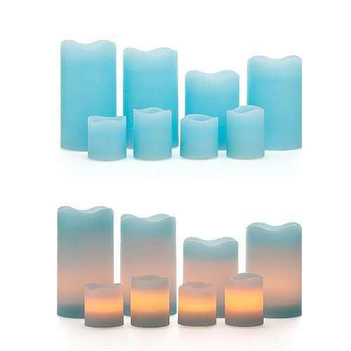 8 led echtwachskerzen mit timer funktion 4 stumpenkerzen 4 votikerzen mehrere farben. Black Bedroom Furniture Sets. Home Design Ideas