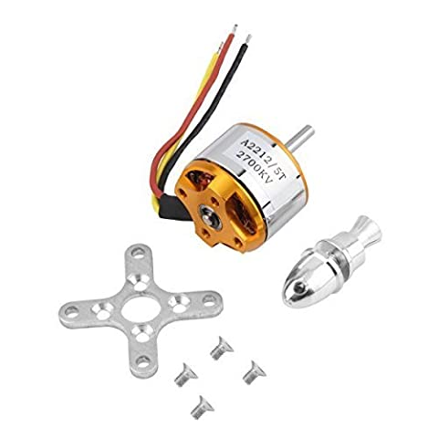 A2212/5T 2700KV Outrunner Brushless Motor for RC Aircraft Model Airplane aluminum stainless steel gold - by LC
