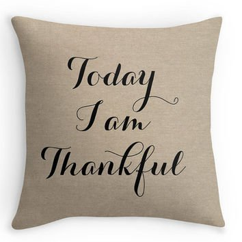 Zcfhike Today I am Thankful Fall Polyester Look Kissen Cover, Decorative Throw, Fall Decor(Satin Fabric) -