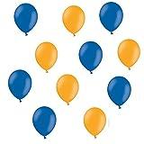 50 x Premium Luftballons je 25 Blau & Orange - ca. Ø 28cm - Made in Europa 50 Stück - Ballons als Deko, Party, Fest - Farbe Blau & Orange - für Helium geeignet - twist4®
