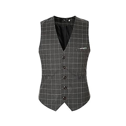 Slim Fit Karriert Herren Anzugweste Bügelleicht Business Causual Weste Anzug Vintage