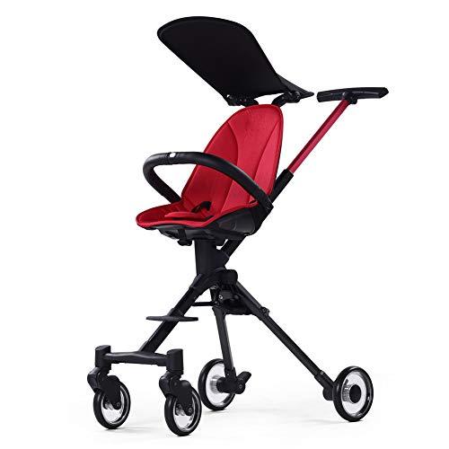 Kindgre Baby Carriage Hochformatiger Faltbarer Kinderwagen Aus Aluminiumlegierung (Red)