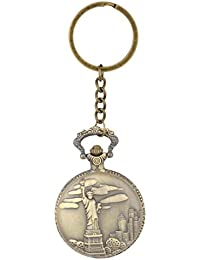 Kairos Designer Statue Of Liberty Pocket Watch Clock Keychain Vintage Key Chain (Liberty-Watch)