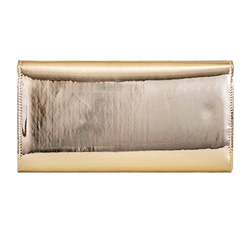 Xardi London Pochette da donna grande, nera metallizzata, da cerimonia o party Gold
