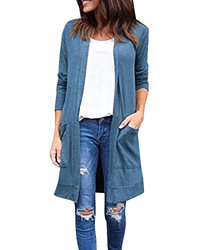 Femmes Manteau Vest Manches Longues en Coton Kimono Cardigan Ouvert Tops Bleu
