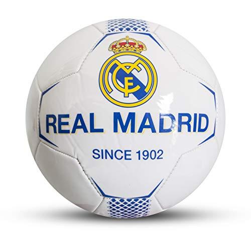 Real Madrid F.C. Balón de fútbol para niños, Blanco, 5
