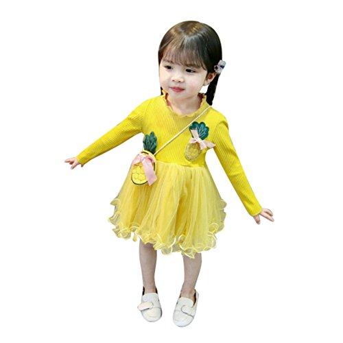 Doubleer Baby Mädchen Langarm Kleider Ananas Muster Mesh Tutu Kleid Infant Kinder Sommer Prinzessin Kleider