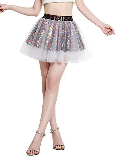 Berylove 9001 Damen Tüllrock Party Falten Rock Glitzernd Pailletten Petticoat Mini Tanzrock Tutu Weiß ()