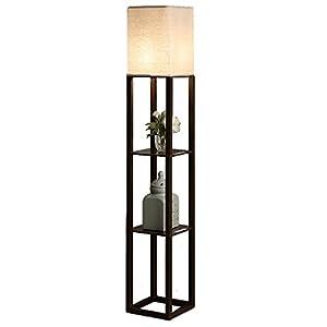 QIANGUANG® Innenbeleuchtung 1,6 m Holz Stehlampe mit Regalen USB-Ladesteckdose für Schlafzimmer Wohnzimmer (BRAUN)