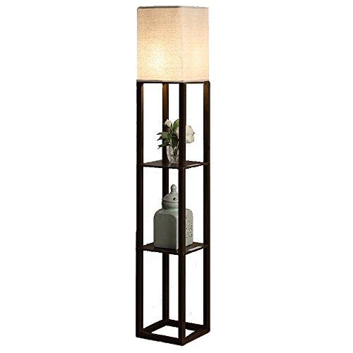 QIANGUANG® Iluminación interior Lámpara de pie de madera de 1,6 m con estantes para dormitorio y sala de estar (sin bombilla) (Marrón USB)