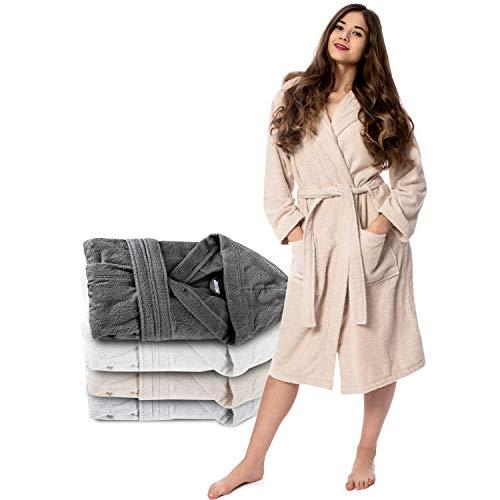Damen Bademantel (S, Hellbeige/Taupe) - 100% Baumwolle, Oeko TEX Zertifiziert - Bademantel aus Baumwollfrottee mit Kapuze, 2 Taschen, Gürtel - Saunamantel, Weich, Saugfähig und Bequem