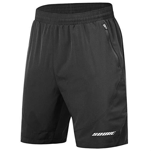 Souke Sports Herren Trainingshose Laufshorts Quick Dry Athletic Performance Shorts Schwarz Futter Reißverschluss Taschen - schwarz - XX-Large -