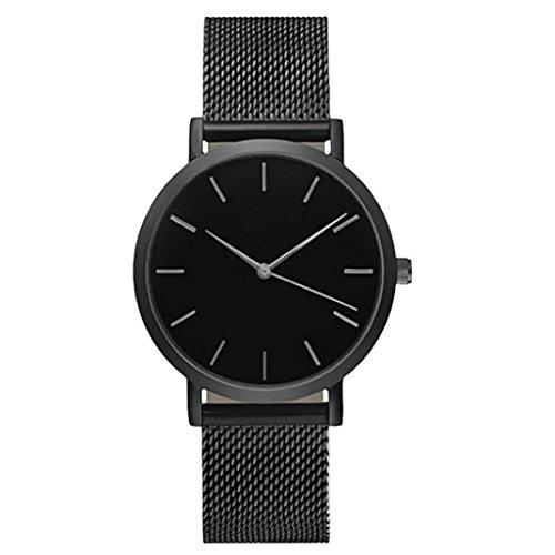 Lucky mall Mode-Frauen-Kristall-Edelstahl-Uhr, Analog Quarz Armbanduhr Armband