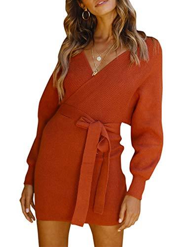 Melegant Damen Herbst Gestrickte Kleid Elegant V-Ausschnitt Bodycon Knielang Gürtel Langarm Pullover Strickkleid Winter Rot