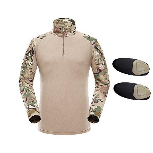 QMFIVE Taktisches Hemd Militärhemd, Airsoft Hemd Männer Langarm BDU Combat Camouflage Camo Kampf T-Shirt für Tactical Airsoft Paintball Armee