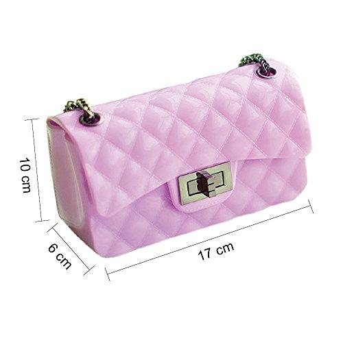 BYD Sacs à main Femmes Mini Les sacs à main de mode casual Lady sac d'épaule des PU cuir de couleur unie de style dame douce plaid sacs pourpre