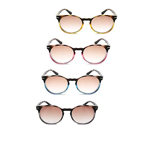 Mode Lesebrille Frühling Scharniere Reader Brillen Preiswert 4-Packs mit Computerbrillen Brauner Schildkröte Hohe optische Klarheit, Blendschutz, Kratzfest,2.5