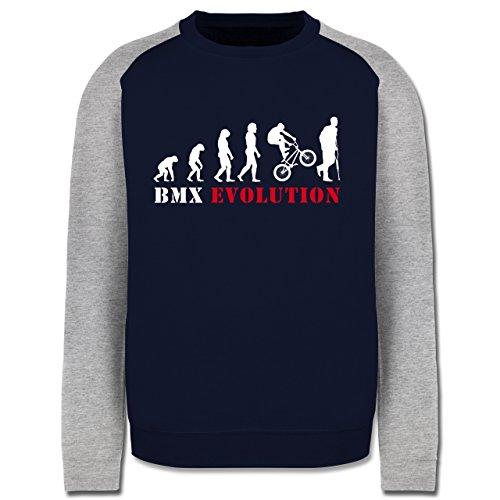 Evolution - BMX Evolution - Herren Baseball Pullover Navy Blau/Grau Meliert