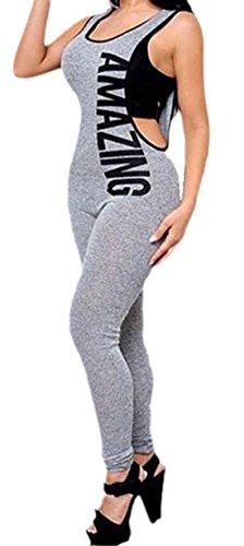Vian Lundgaard - Damen Frauen Yoga Fitness Sport Jumpsuit mit Aufschrift, XS, Grau