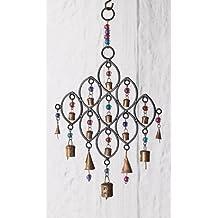 India - móvil de viento con campanas de hierro reciclado y perlas de cristal